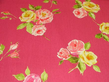 "Prestigious Textiles ""Ella"" Cerise Floral Cotton Curtain/Soft Furnishing Fabric"
